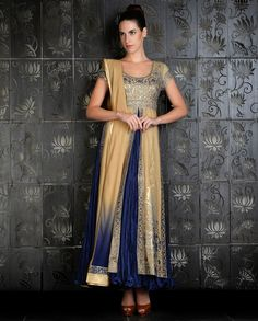 Beige and Electric Blue Kalidar with Applique Work