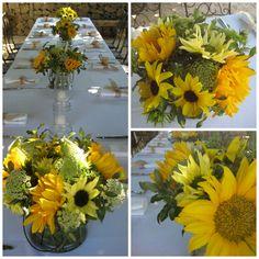 Sunflower Centerpieces - www.DragonflyFloral.com - #summerflowers #dragonflyfloral