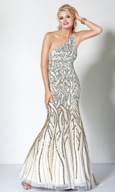 White Mermaid Trumpet One Shoulder Sequins Graduation Prom Dress PD3927  Inexpensive Prom Dresses 31f9ccbffe61