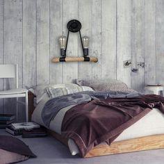 Nostalgic bedroom. Retro hemp rope bedside lamp  | Cheerhuzz