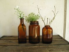 Pull together a collection of glass bottles