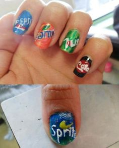 I'm totally a soada and nail lover, this is awesome. Cola is my favorite. Girls Nail Designs, Nail Polish Designs, Cute Nail Designs, Funky Nail Art, Cool Nail Art, Love Nails, Pretty Nails, Shellac, Multicolored Nails