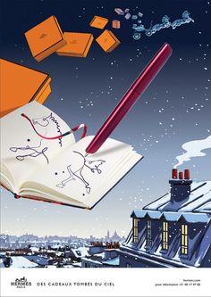 Hermès - campagne de publicité / ad campaign - Noël 2014 - Publicis & Nous - stylo - by Dimitri Rybaltchenko