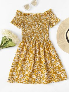 Off Shoulder Calico Print DressFor Women-romwe Cute Teen Outfits, Cute Summer Outfits, Outfits For Teens, Pretty Outfits, Pretty Dresses, Stylish Outfits, Cool Outfits, Summer Dresses, Summer Fashion Outfits
