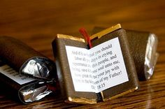The cutest scripture candy books.  Hershey nuggets, a bit of naugahyde, ribbon, and your favorite scripture!