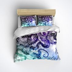 Octopus Bedding  Large Modern Watercolor Tentacle by InkandRags