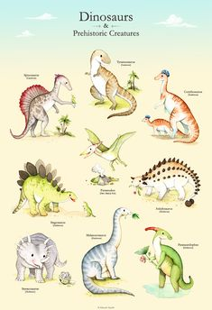 Dinosaur poster, Illustrated dinosaur poster, Boys room, T-rex, boys nursery… Dinosaur Crafts, Dinosaur Art, Cute Dinosaur, Dinosaur Types, Dinosaur Images, Dinosaur Coloring, Doodle Pattern, Watercolor Clipart, Dinosaur Posters