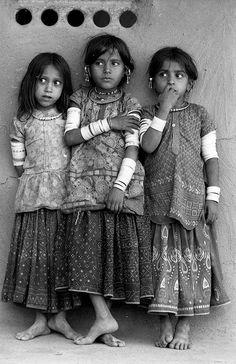 Three Harijan girls, Kutch, Gujarat, 1979. © Jyoti Bhatt