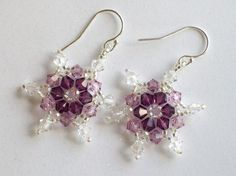 Amethyst Swarovski Crystal Snowflake Earrings, hand stitched