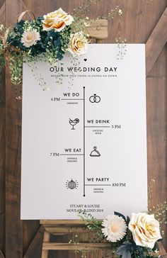 Printable Wedding Sign Template - Wedding Program Sign Printable wedding sign template, wedding timeline template, modern wedding decor Source by Wedding Timeline Template, Wedding Day Timeline, Program Template, Wedding Templates, Wedding Program Sign, Wedding Signs, Wedding Cards, Marquee Wedding, Wedding Marquee Decoration