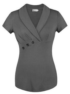 Looking for Ninedaily Women Lapel V Neck Button Elegant Short Sleeve Tunic Business Blouse ? Check out our picks for the Ninedaily Women Lapel V Neck Button Elegant Short Sleeve Tunic Business Blouse from the popular stores - all in one. Blouse Styles, Blouse Designs, Mode Swag, Bluse Outfit, Work Attire, Black Blouse, Dress Patterns, African Fashion, Work Wear