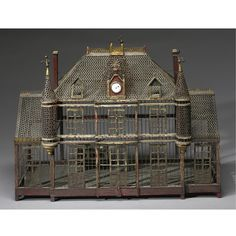 A Continental painted metal birdcage 19th century