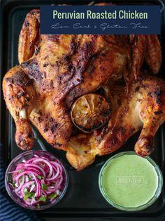 Peruvian Roasted Chicken & Green Sauce This Peruvian Roasted Chicken & Green Sauce is easy and delicious! Keto, Atkins, Gluten FreeThis Peruvian Roasted Chicken & Green Sauce is easy and delicious! Peruvian Roast Chicken Recipe, Peruvian Chicken, Roast Chicken Sauce, Peruvian Green Sauce Recipe, Easy Roast Chicken, Dairy Free Recipes, Low Carb Recipes, Cooking Recipes, Gluten Free