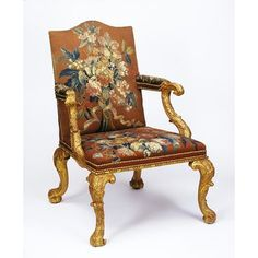 Carved and gilded beechwood, upholstered in tapestry, ca. 1750. l Victoria and Albert Museum
