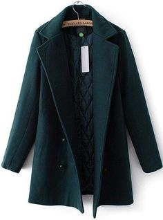 Green Lapel Double Breasted Woolen Coat - abaday.com