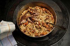 Byggryte med sopp og restekjøtt