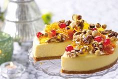 Eggnog cheesecake with stained-glass praline