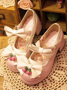 Cosplay Sweet Love Lolita Moe Strawberry shoes with bowknot Bodyline style #Unbranded #LOLITA