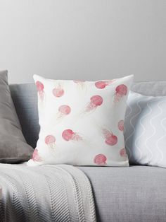 Jellyfish Apocalypse - Sans Text by Orion Rose  . . .  #jellyfish #art #design #interior #decor #watercolor #nature #ocean #sea #graphic #peach #pink #dogwood #minimalist #minimal #minimalism  #pale #aesthetic #surreal #whimsy #whimsical #apocalypse #throw #pillow #interior #decor #design #living #room #family