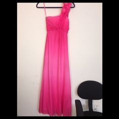 Ombré pink prom dress This dress is from cache. I wore it once to my high school prom (2013). Beautiful in pictures and really brings out at tan. The ombré is a nice touch. small stains in the front but aren't noticeable when worn, the dress drapes and hides them naturally. Priced to sell. Cache Dresses One Shoulder