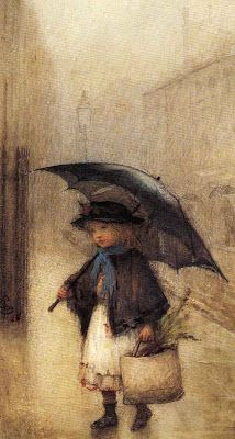 British Painting  -  [In the Rain] 1885 Watercolour over traces of pencil heightened with bodycolour and scratching out  by Albert Ludovici Jnr .