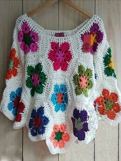 Jollyclo Floral 1 White Black Women Tops Cotton Casual Crew Neck Long Sleeve Crocheted Tops for reference only.don't shop at this store Pull Crochet, Crochet Jumper, Crochet Poncho Patterns, Crochet Cardigan, Crochet Shawl, Crochet Stitches, Knit Crochet, Free Crochet, Crochet Crafts
