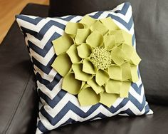 "16x16"" Navy Chevron Throw Pillow with Large Green Wool Felt Dahlia Flower. $45.00, via Etsy."