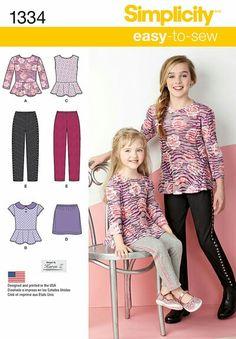 1334 Child's & Girls' Top, Mini Skirt and Slim Pants.