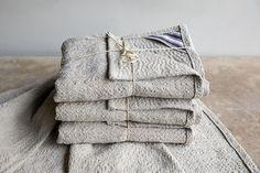 Sashiko hand stitched linen towels