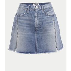 FRAME Le High Mini Inserted Zipper (€225) ❤ liked on Polyvore featuring skirts, mini skirts, multicolor, short, long blue skirt, high waisted long skirts, short a line skirt and high-waist skirt