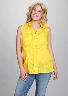 Love yellow!  UNIQUE SPECTRUM Plus Sleeveless Button Front Blouse