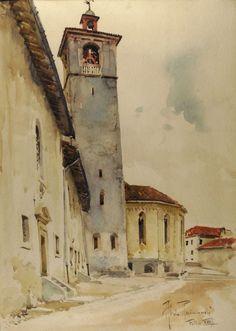 Raimondi Aldo : Il campanile del duomo di Feltre (1940) - Acquerello su carta…