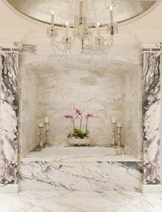 Love these simple accessories. Bulky silver candlesticks and orchids make a sweet and welcoming space. (Windsor Master Bath - traditional - bathroom - dallas - Isler Homes) Antique Chandelier, Chandeliers, Marble Columns, Silver Candlesticks, Welcome To My House, Beautiful Bathrooms, Luxurious Bathrooms, Traditional Bathroom, Bath Design