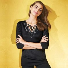 "Sequin embellishment on gorgeous openwork neckline lights up this flattering little black number. Features a v-neck and 3/4-length sleeves.· 95% Polyester, 5% Spandex· Length from highest point of shoulder: 26-1/2"" (medium); 29"" (2X)· Turn garmet inside out. Hand wash, cold; do not use chlorine or non-chlorine bleach. Do not wring. Dry flat; cool iron as needed.· Imported"