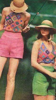 Crochet granny square set of 2 tops vintage pattern summer by MKpatternsCrafts on Etsy 70s Inspired Fashion, 70s Fashion, Vintage Fashion, Fashion Models, Vintage Crochet Patterns, Crochet Designs, Knitting Patterns, Knitting Tutorials, Afghan Patterns