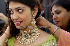 Jewellery Designs: Pranitha Lotus Floral Diamond Set