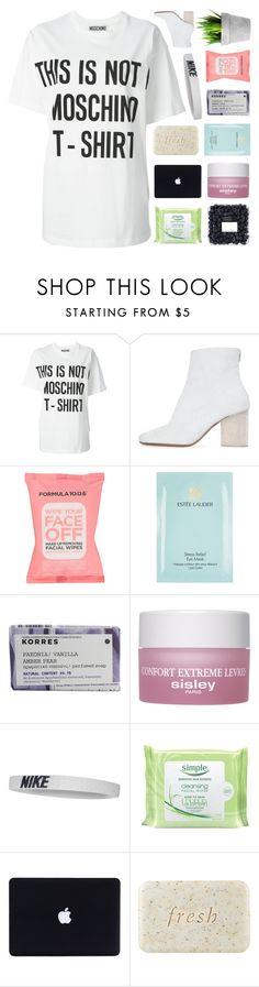 """""""DON'T WANNA STEAL YOUR FREEDOM."""" by samiikins ❤ liked on Polyvore featuring Moschino, Maison Margiela, Formula 10.0.6, Estée Lauder, Korres, Sisley Paris, NIKE, Simple, Fresh and country"""
