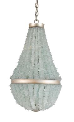 """Organic materials inspired this Currey and Co. 17"""""""" Diameter x 30"""""""" high Aqua Sea Glass Platea Chandelier. Strand upon strand of carefully chosen natural Seaglass will remind you of beachcombing for s"""