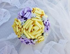 paper flower bouquet with vintage embellishments from Paper Flowers Wedding, Purple Wedding Flowers, Wedding Bouquets, Embellishments, Rose, Handmade Gifts, Vintage, Creativity, Kid Craft Gifts