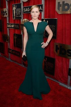 Kate Winslet in a custom Giorgio Armani dress.