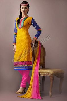 Yellow and Blue Cotton Churidar Suit, Design No. DMA12558, Price - $51.56, Dress Type:	Churidar Suit, Fabric:	Cotton, Colour:	Yellow with Blue , Embellishments:	Designed with Resham work, For More Details Visit Here @ http://www.andaazfashion.us/yellow-and-blue-cotton-churidar-suit-dma12558.html