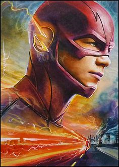 PSC sketch card commission Grant Gustin as Barry Allen marker/watercolor/multiliner card sized 2.5*3.5 inch