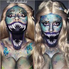 Makeup Halloween Scary Mermaid 18 Ideas - Page 8 of 31 - Easy Hairstyles Creepy Halloween Makeup, Creepy Makeup, Pretty Halloween, Halloween Kostüm, Halloween Cosplay, Mermaid Halloween Makeup, Sfx Makeup, Costume Makeup, Scary Mermaid