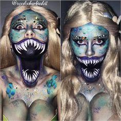 Wicked Siren | IG @voodoobarbiedoll | Siren, Mermaid, Mermaid Makeup, Makeup, SFX, Special Effects Makeup, Scary Mouth Makeup, Teeth Makeup, Creepy Makeup, Horror, Halloween Makeup, Halloween Inspiration, Scale Makeup, Siren Makeup