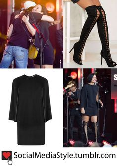 "Buy Demi Lovato's ""Jimmy Kimmel Live!"" Black Cape Dress and Black Lace-Up Boots, here!"