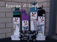 Keeping it Simple: Tutorial Tuesday: 2x4 Snowmen; Love the way the hats were made from gloves - http://www.keepingitsimplecrafts.com/2010/12/tutorial-tuesday-2x4-snowmen.html