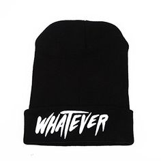 Beanie Hat, Knit Cap Hip Hop Beanie Hats for Women/Men, Women Fashion Hats with Letter 'WHATEVER' - Black Winter Skull Cap - http://todays-shopping.xyz/2016/05/24/beanie-hat-knit-cap-hip-hop-beanie-hats-for-womenmen-women-fashion-hats-with-letter-whatever-black-winter-skull-cap/