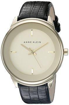 Anne Klein Women's AK/2170CHBK Gold-Tone Watch and Black Lizard-Embossed Faux-Leather Band *** Check out the watch by visiting the link.