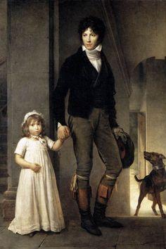 "Retrato de Jean-Baptist Isabey with His Daughter"".   Pintor francês. (Nancy, 11/Abril/1767 - 18/Abril/1855). (by François Gérard)."