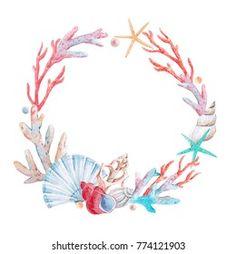 Watercolor Ocean, Wreath Watercolor, Sea Animals Drawings, Sea Wedding Theme, Coral Drawing, Sea Creatures Drawing, Flower Background Design, Ocean Illustration, Ocean Backgrounds